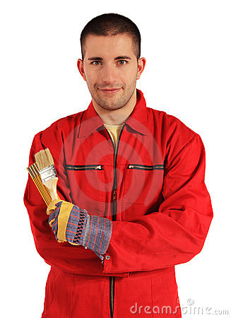 Free Painter In Red Overall Royalty Free Stock Photos - 16720158
