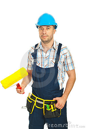 Painter man holding paint roller