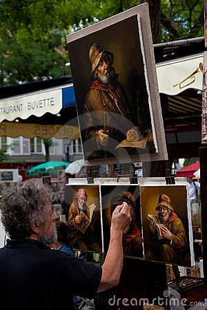 Painter in Montmartre, Paris Editorial Photography