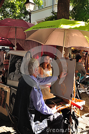 STREET PAINTER ON MONTMARTRE, PARIS, FRANCE Editorial Photo