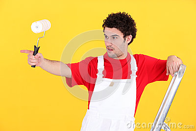 Painter pointing with finger