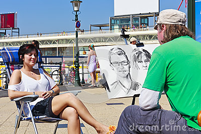 Painter at Scheveningen Editorial Photography