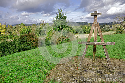 Painter Wood Easel Monument and Seine River Valley