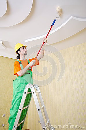 Painter worker during  job