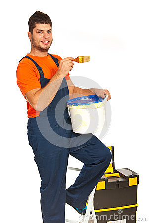 Painter worker on stepladder