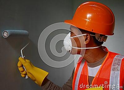 Painter worker wearing  safety work on job