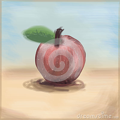 Painterly Apple, freehand drawing linear style,