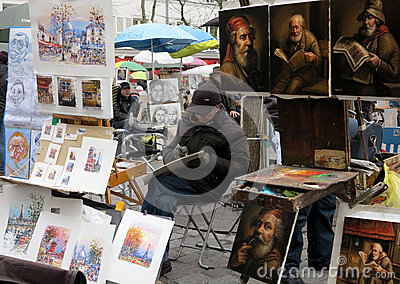 Painters in Place du Tertre in Paris Editorial Stock Image