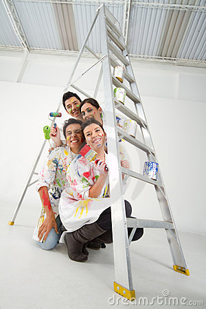 Painters with a ladder