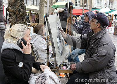 Place du Tertre Paris Editorial Photo