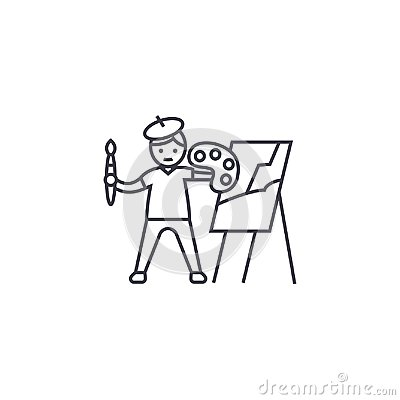Free Painting A Picture Vector Line Icon, Sign, Illustration On Background, Editable Strokes Stock Image - 116044431