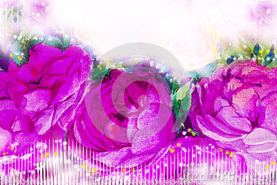 Painting art watercolor illustration pink,violet color of the roses. Cartoon Illustration