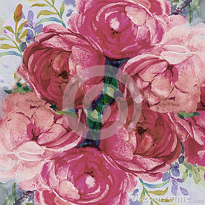 Painting art watercolor landscape pink color of the roses. Cartoon Illustration