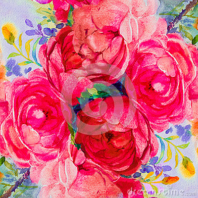 Painting art watercolor landscape pink,yellow color of the roses. Cartoon Illustration