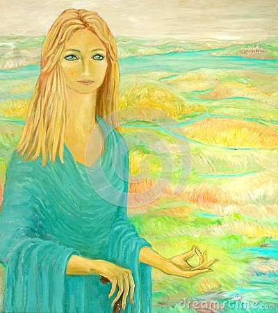 Painting from a beautiful woman in meditation