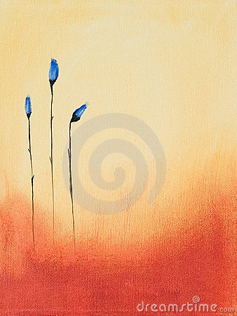 Painting of blue flowers