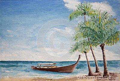 Painting of boat and palm trees