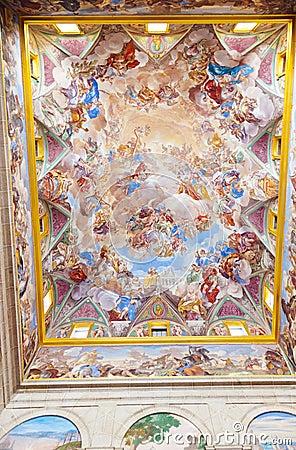 Painting in Castle Escorial near Madrid Spain