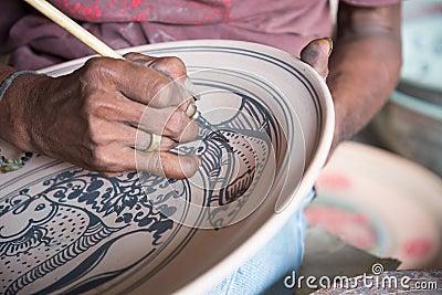 Painting ceramic pottery