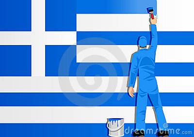 Painting The Flag Of Greece