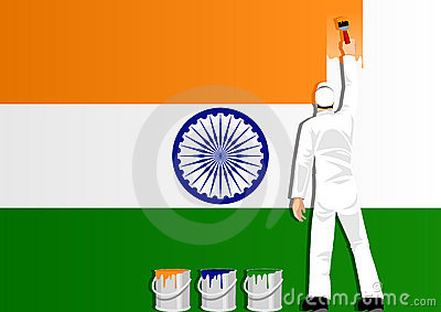 Painting The Flag Of India