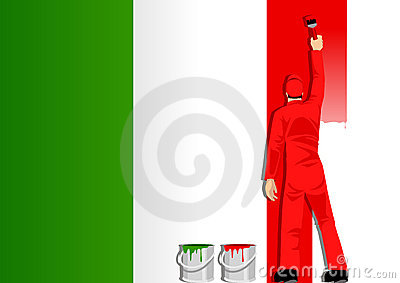 Painting the flag of Italy