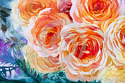 Painting flora art watercolor original illustration orange,red color of roses. Cartoon Illustration