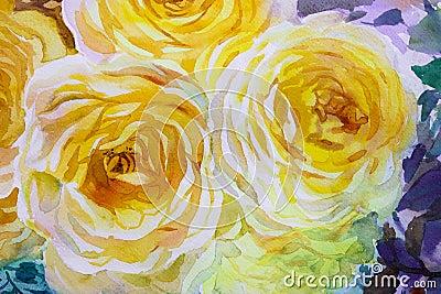 Painting flora art watercolor original illustration yellow color of roses. Cartoon Illustration