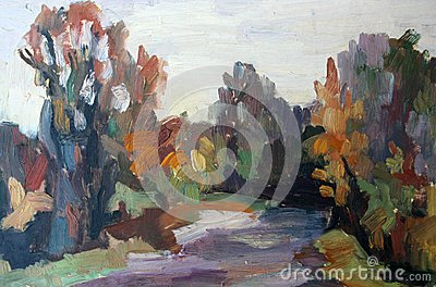 Painting of a  forest in a autumn