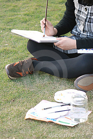 Painting on the grass