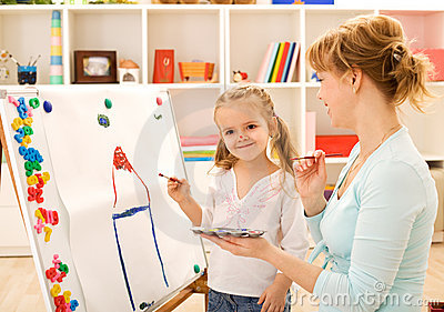 Painting and having fun with mom