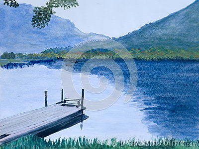 Painting of an Idyllic Lake
