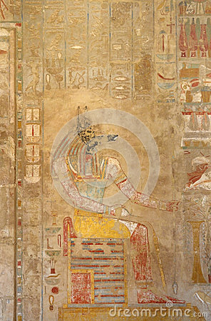 Painting inside the Mortuary Temple of Hatshepsut