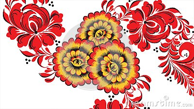 Painting Khokhloma Russia of bright red flowers and berries on white background. Abstract fractal transformation Stock Photo
