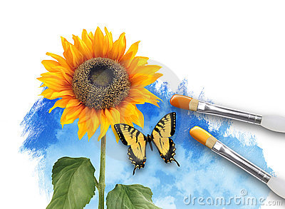 Painting Nature SunFlower with Clouds