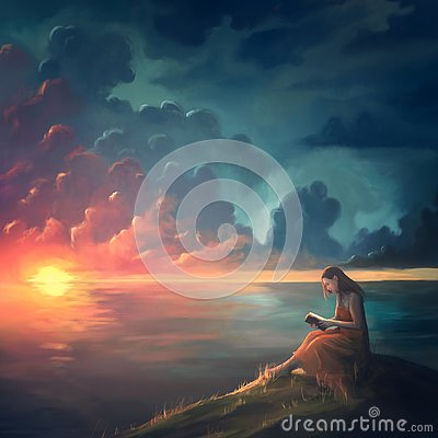 Free Painting Of A Woman At Sunset Stock Image - 142997281