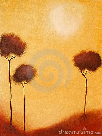 Free Painting Of Of 3 Trees Royalty Free Stock Photography - 2823697