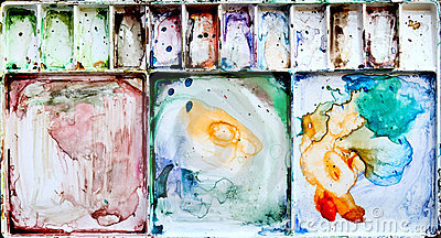 Painting palette box with dirty watercolor