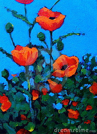 Painting of Red Poppies, Impressionism