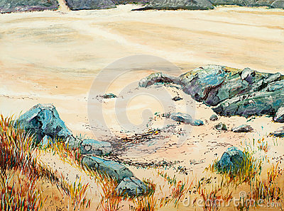 A painting of rocks and sand
