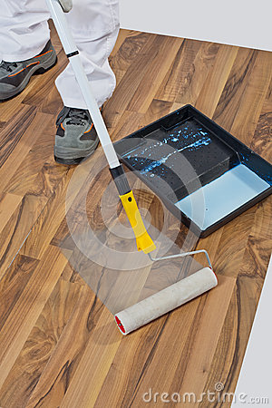 Painting roller wooden floor waterproofing