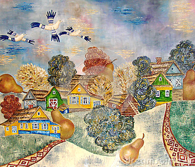 Painting of Russian village with modern style.