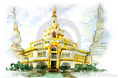 Painting of Thai pagoda
