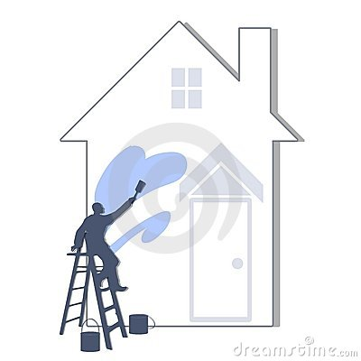 Free Painting The House Light Blue Stock Image - 4446611