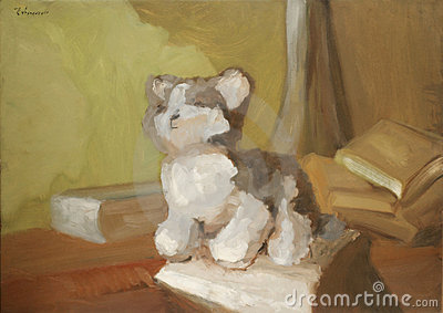 Painting with toy cat