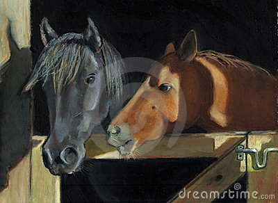 Painting of Two Horses At Gate