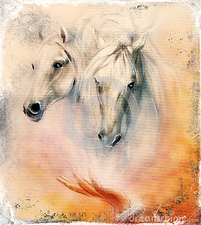 Free Painting Two White Horses, Vintage Abstract Background. Stock Photography - 51934422