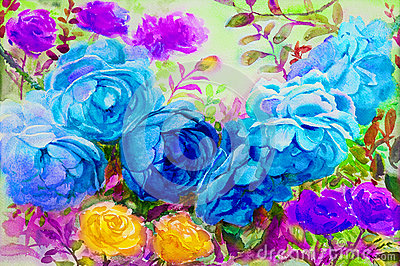 Painting watercolor flowers landscape colorful of roses. Cartoon Illustration