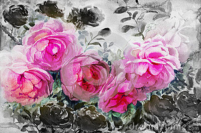 Painting watercolor flowers landscape pink black color of roses. Cartoon Illustration