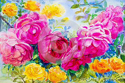 Painting watercolor flowers landscape pink yellow color of roses. Cartoon Illustration